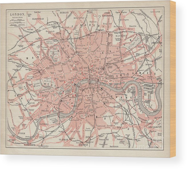 Downtown District Wood Print featuring the digital art City Map Of London, Lithograph by Zu 09