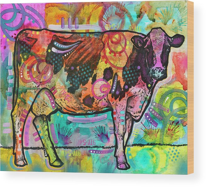 Cow Wood Print featuring the mixed media Cow - Mooove Over Rover by Dean Russo- Exclusive