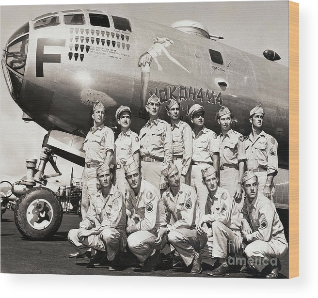 People Wood Print featuring the photograph Crew Standing With B-29 Superfortress by Bettmann