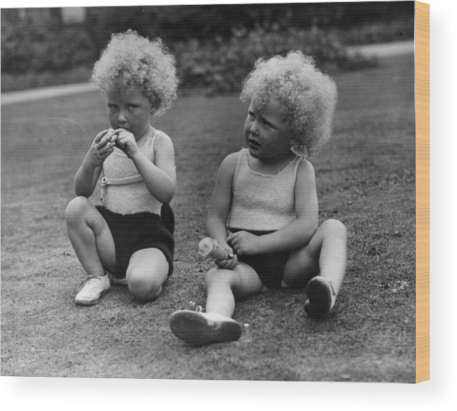 Toddler Wood Print featuring the photograph Curly Twins by Fox Photos