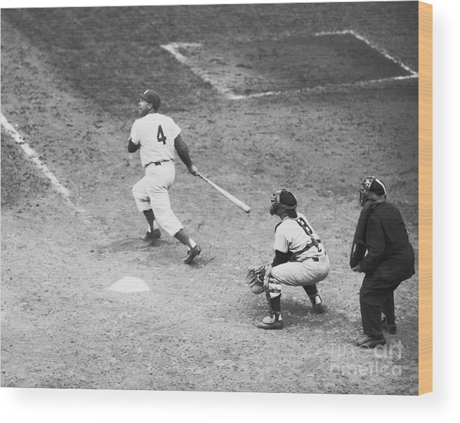 People Wood Print featuring the photograph Duke Snider Batting At Home Plate by Bettmann