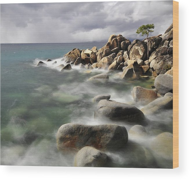 Tranquility Wood Print featuring the photograph East Shore, Lake Tahoe by Stevedunleavy.com