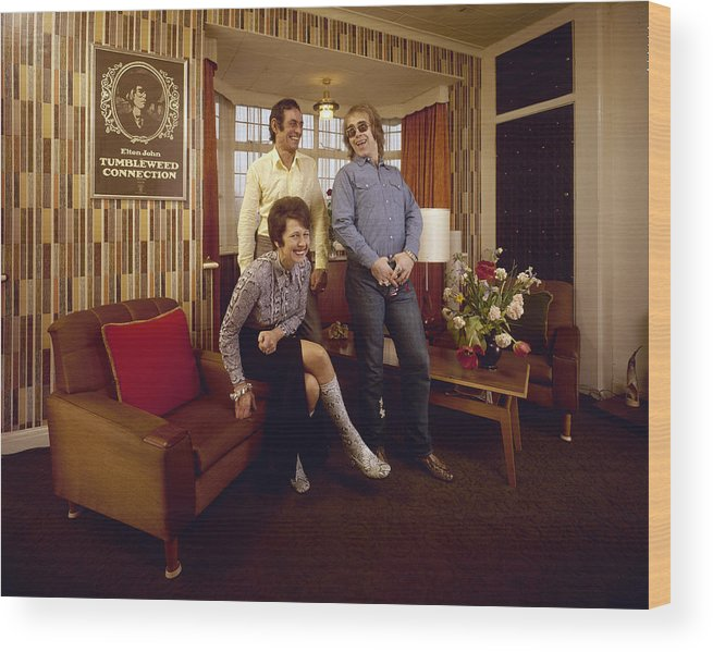Singer Wood Print featuring the photograph Elton John At Home by John Olson