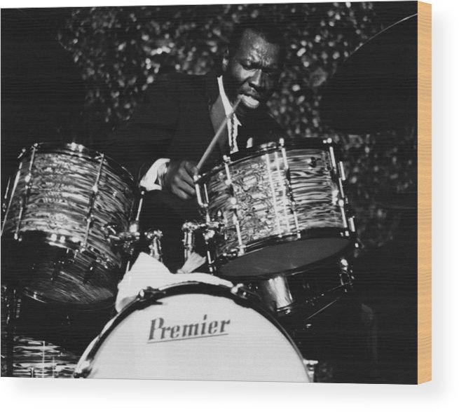 Concert Wood Print featuring the photograph Elvin Jones On Drums by David Redfern