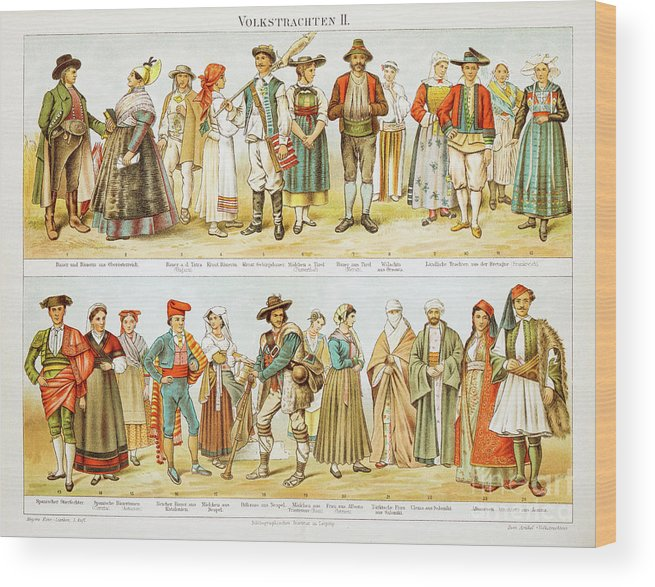 Engraving Wood Print featuring the digital art European Costumes Lithograph 1897 by Thepalmer