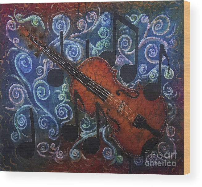 Fiddle Wood Print featuring the painting Fiddle 1 by Sue Duda
