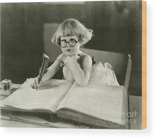 Innocence Wood Print featuring the photograph Future Writer by Everett Collection