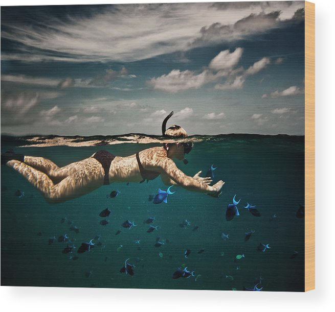 People Wood Print featuring the photograph Girl Snorkelling In Indian Ocean by Rjw