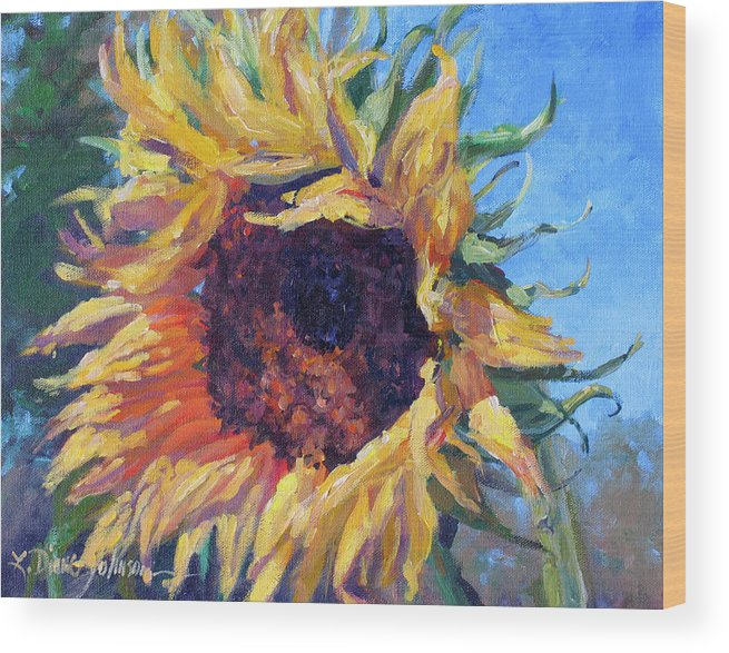 Sunflower Landscape Wood Print featuring the painting Good Mornin by L Diane Johnson