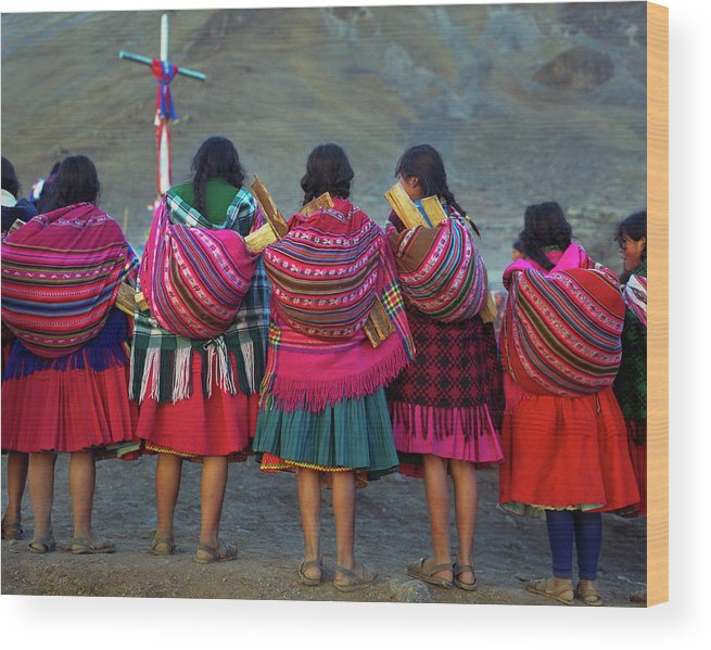People Wood Print featuring the photograph Group Of Peruvian Woman In Colorful by Linka A Odom