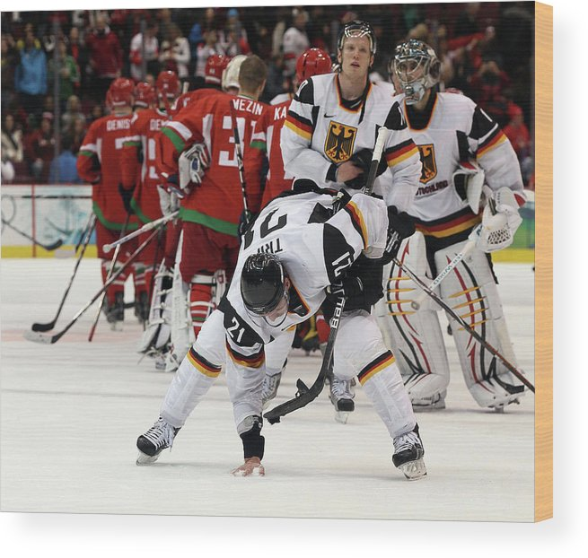Defeat Wood Print featuring the photograph Ice Hockey - Day 9 - Germany V Belarus by Bruce Bennett
