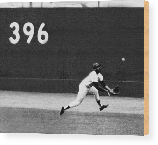 American League Baseball Wood Print featuring the photograph In One Of The Greatest Exhibitions By by New York Daily News Archive
