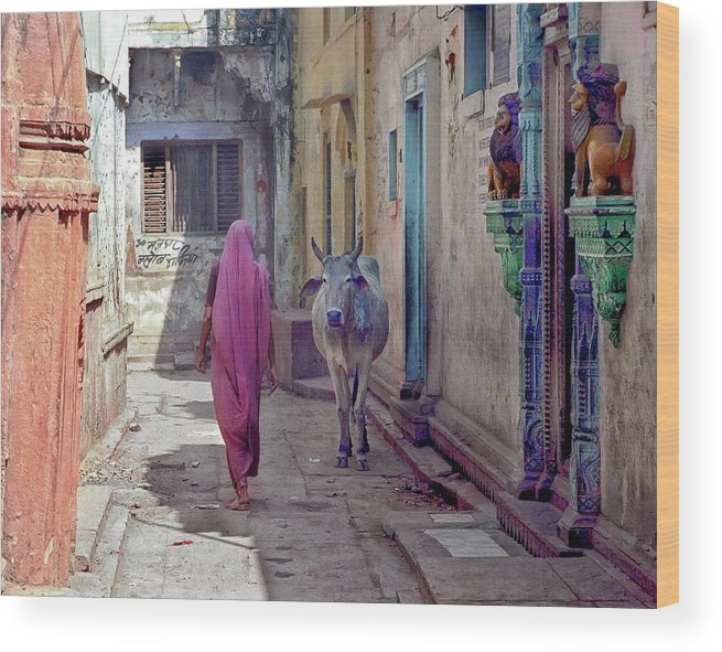 Horned Wood Print featuring the photograph India Lady And Cow by Glenn Losack