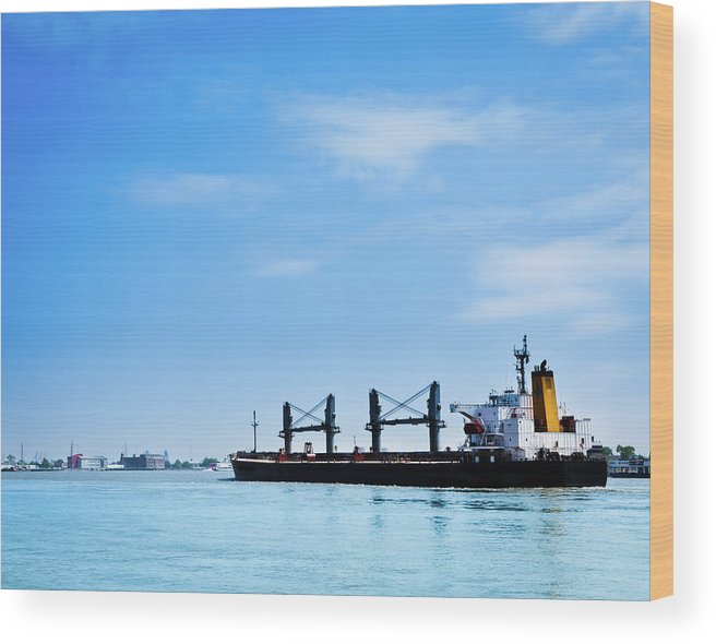 Freight Transportation Wood Print featuring the photograph Industrial Ship On Mississippi River by Lightkey