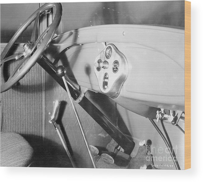 Finance And Economy Wood Print featuring the photograph Interior Of 1928 Ford Automobile by Bettmann