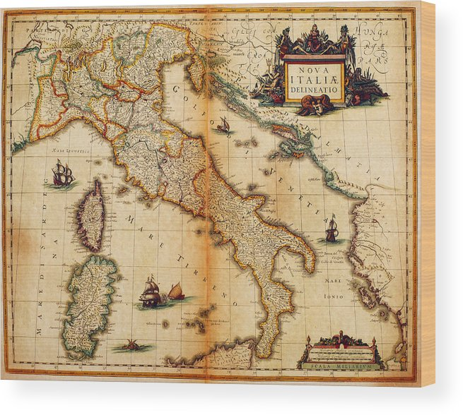 Engraving Wood Print featuring the digital art Italy Map 1635 by Nicoolay
