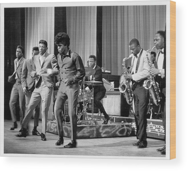 Singer Wood Print featuring the photograph James Brown And Famous Flames At The by Michael Ochs Archives