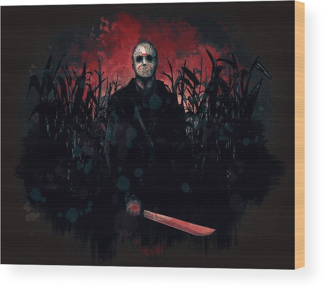 Jason Wood Print featuring the drawing Jason Lives by Ludwig Van Bacon
