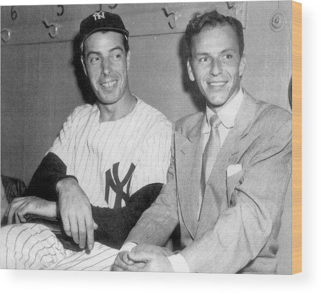 American League Baseball Wood Print featuring the photograph Joe Dimaggio And Frank Sinatra At by New York Daily News Archive