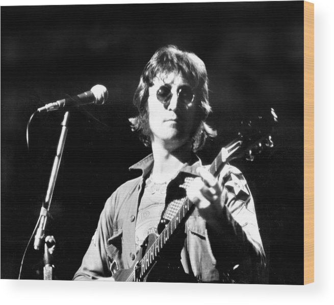 Usa Wood Print featuring the photograph John Lennon. Performing At Th One To by New York Daily News Archive