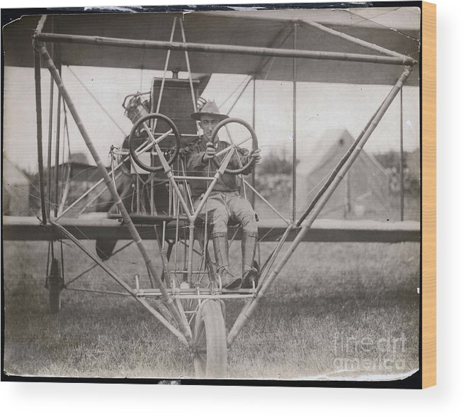 People Wood Print featuring the photograph Lieutenant Geiger Sitting In Cockpit by Bettmann