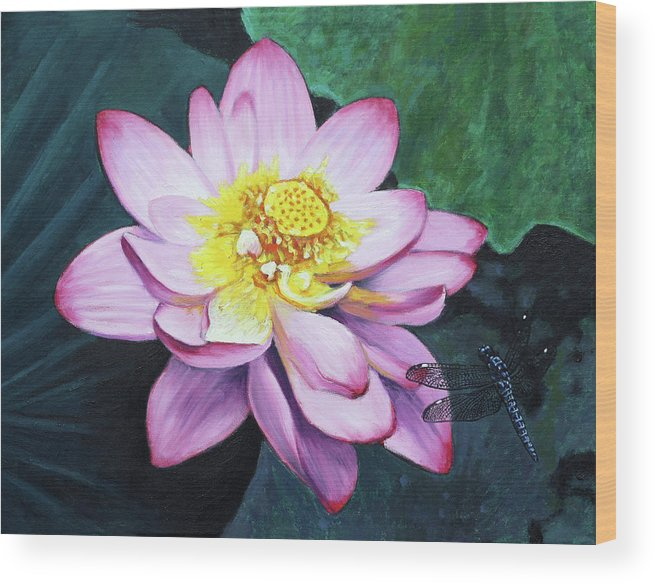 Lotus Wood Print featuring the painting Lotus With Dragonfly by John Lautermilch