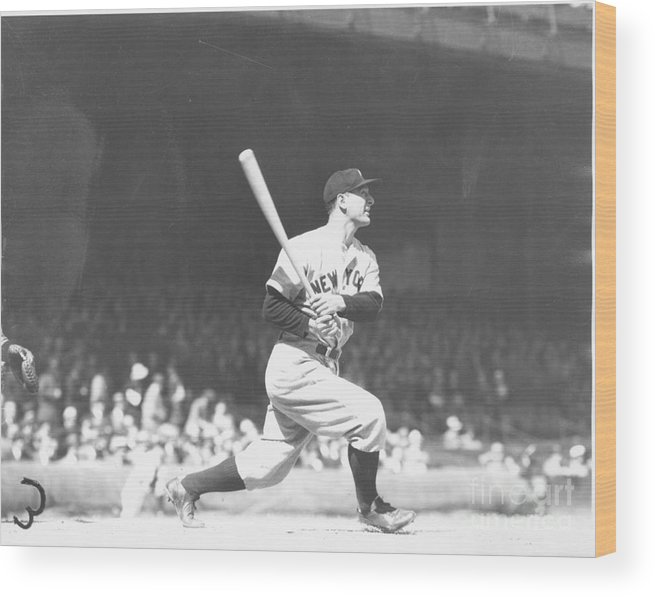 People Wood Print featuring the photograph Lou Gehrig by Louis Van Oeyen/ Wrhs