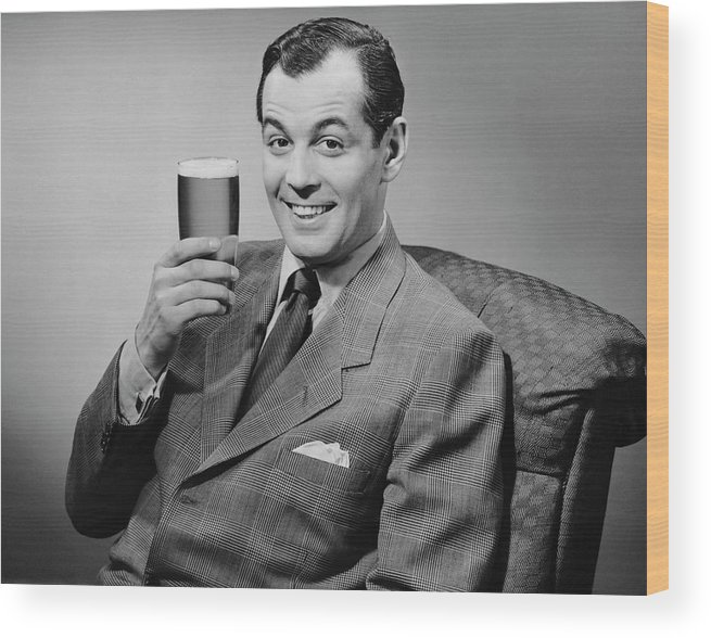 Mature Adult Wood Print featuring the photograph Man Sitting & Having A Beer by George Marks