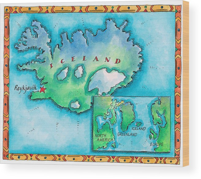 Watercolor Painting Wood Print featuring the digital art Map Of Iceland by Jennifer Thermes