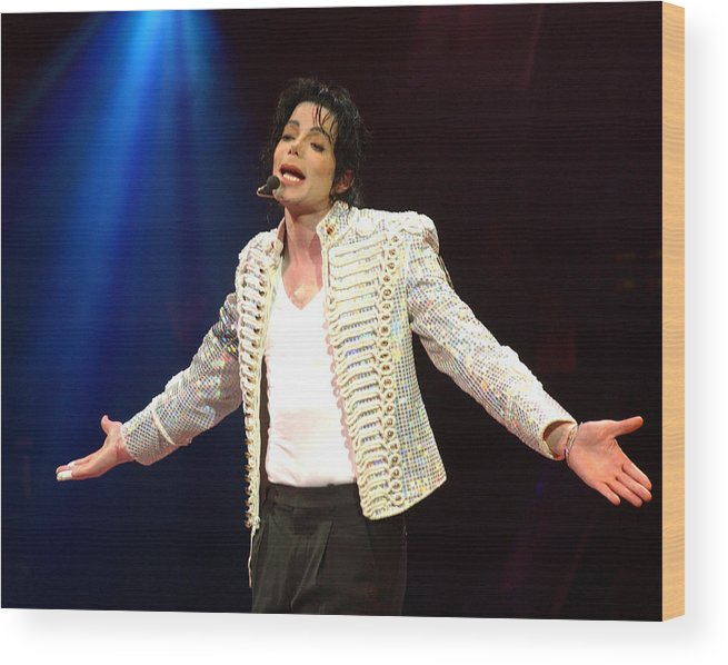 Democracy Wood Print featuring the photograph Michael Jackson Performs Onstage During by New York Daily News Archive