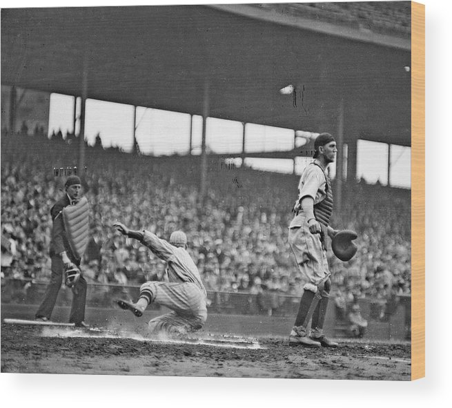 People Wood Print featuring the photograph New York Giants Baseball Player Sliding by Chicago History Museum