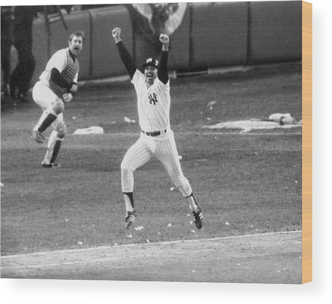 American League Baseball Wood Print featuring the photograph New York Yankees Chris Chambliss Jumps by New York Daily News Archive
