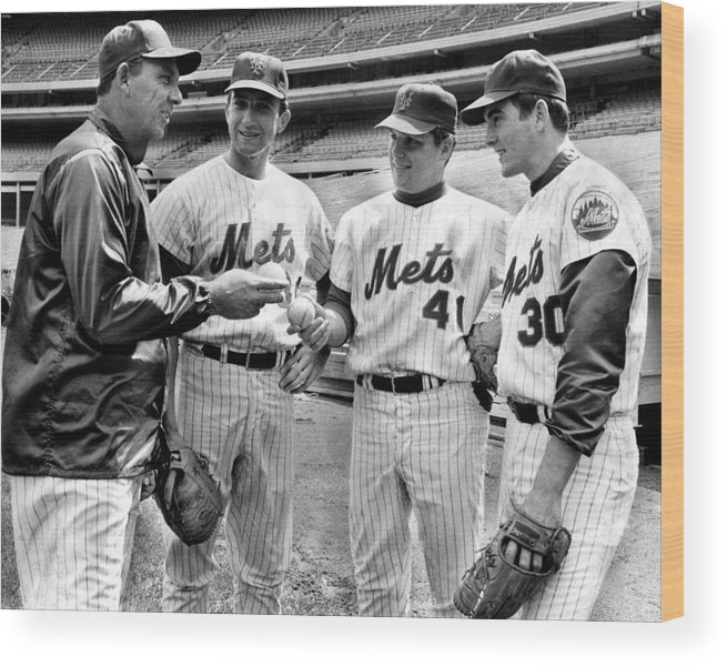 Sport Wood Print featuring the photograph N.y. Mets Manager Gil Hodges Sports A by New York Daily News Archive