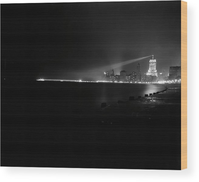 Lake Michigan Wood Print featuring the photograph Palmolive Building In Chicago by Chicago History Museum