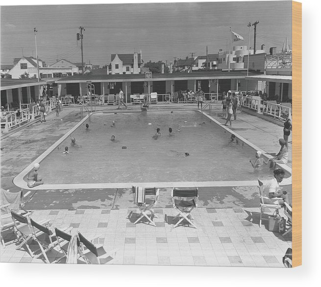 Rectangle Wood Print featuring the photograph People Swimming In Pool, B&w, Elevated by George Marks