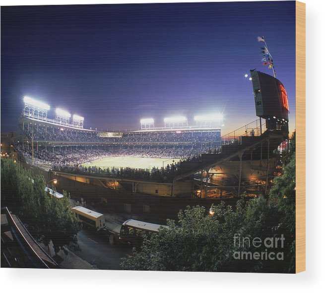 National League Baseball Wood Print featuring the photograph Philadelphia Phillies V Chicago Cubs by Jerry Driendl