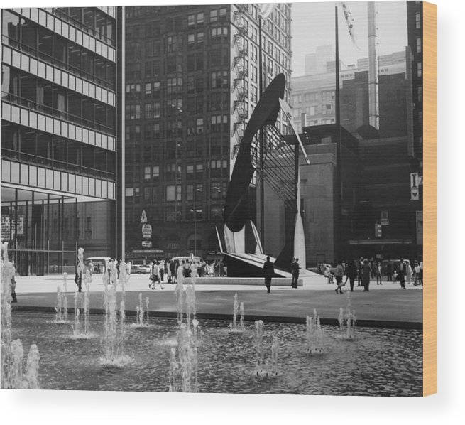Artist Wood Print featuring the photograph Picasso Sculpture At Chicago In by Keystone-france