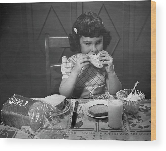 Milk Wood Print featuring the photograph Portrait Of Little Girl Eating Buttered by George Marks