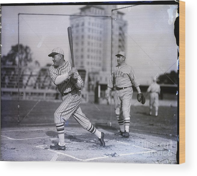 People Wood Print featuring the photograph Rogers Hornsby Batting @ Spring Training by Bettmann