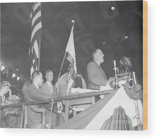 Mature Adult Wood Print featuring the photograph Roosevelt Speaking At Democratic by Bettmann