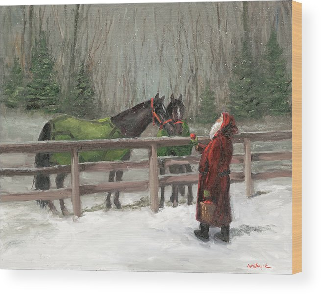 Santa With Horses Wood Print featuring the painting Santa With Horses by Mary Miller Veazie