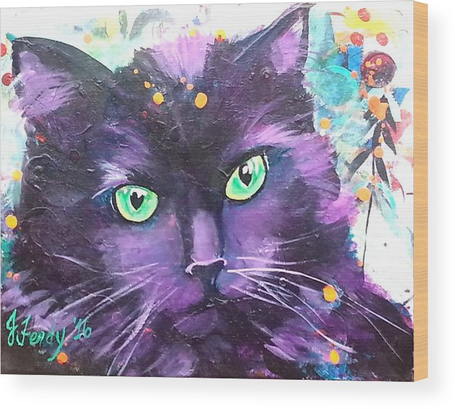 Cats Wood Print featuring the painting Sasha by Goddess Rockstar