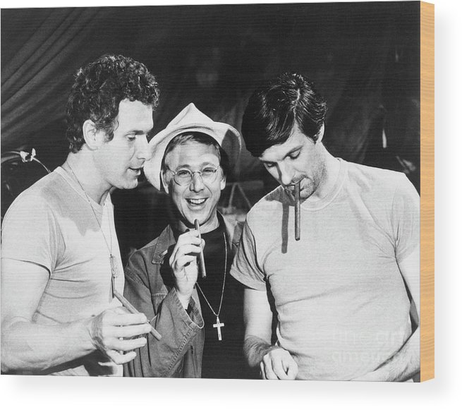 Smoking Wood Print featuring the photograph Scene From M*a*s*h by Bettmann