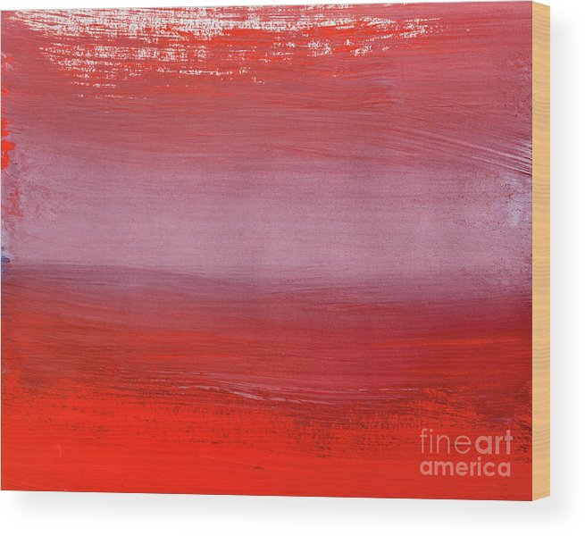 Gouache Wood Print featuring the digital art Shades Of Red Abstract Gouache by Vagengeym elena