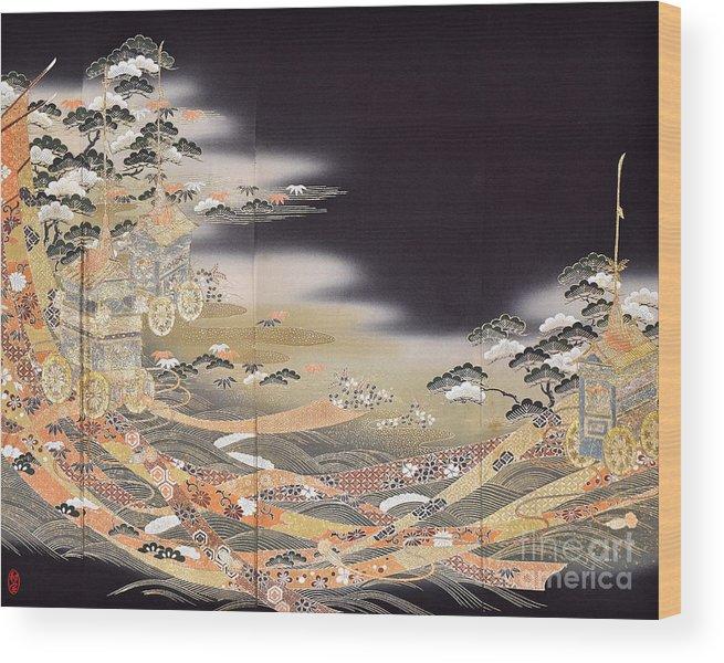 Wood Print featuring the digital art Spirit of Japan T29 by Miho Kanamori