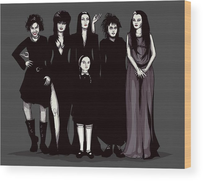 Craft Wood Print featuring the drawing Spooky Girls by Ludwig Van Bacon