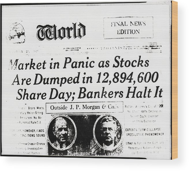 People Wood Print featuring the photograph Stock Market Crash On World Headline by Bettmann