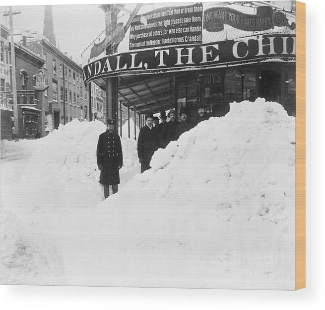 People Wood Print featuring the photograph Store Hidden By Heavy Snowfall by Bettmann