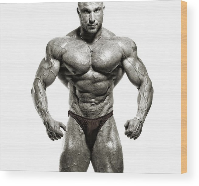 Abdominal Muscle Wood Print featuring the photograph Strong Male Model by Spanic