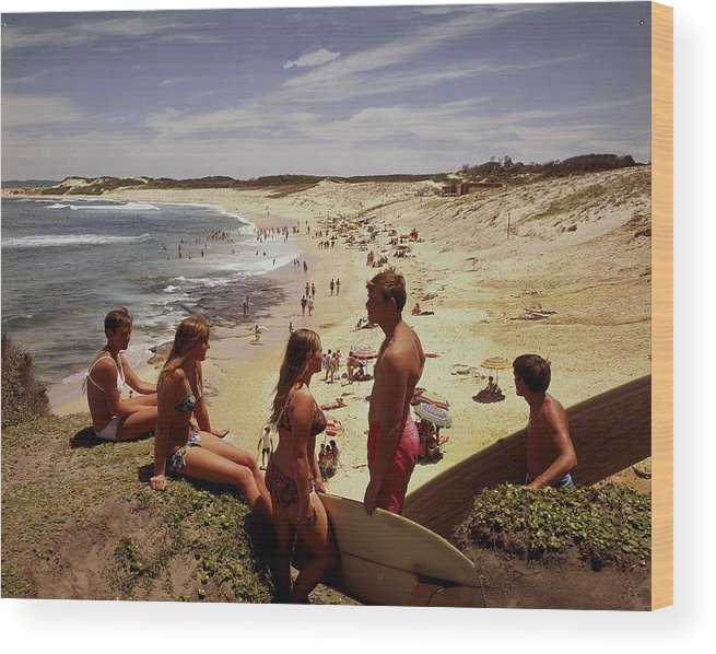 Equipment Wood Print featuring the photograph Surfers & Girls In Bikinis, Soldiers by Robin Smith
